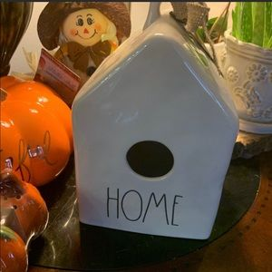 "Rae Dunn ""HOME ""Bird house with Burlap Bow NWT"